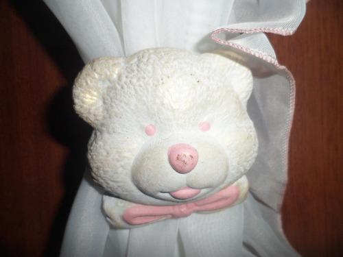 cortina de voile blanca y rosa 1.40 x 1.40 x 2 paños