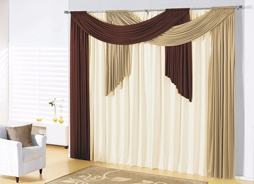 cortina débora avelã/tabaco/palha 3x2,80 varão duplo