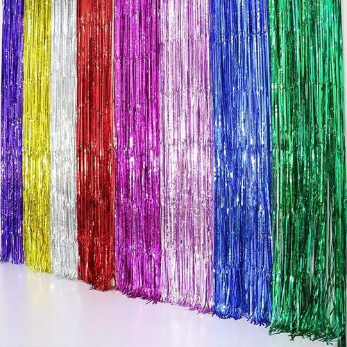 cortina deco holográfica 50 cm x 2 mts - tiras 6 mm #417
