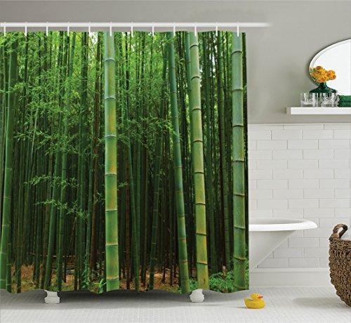 Cortina De Ducha Verde Decoracion De Bambu De Ambesonne Cu - Decoracion-bambu