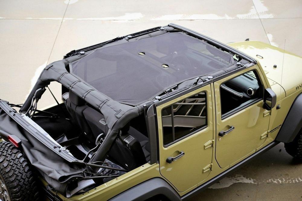 Mesh Full Cover Eclipse Sun Shade For 2007-2017 Jeep Wrangler JK JKU 4-Door