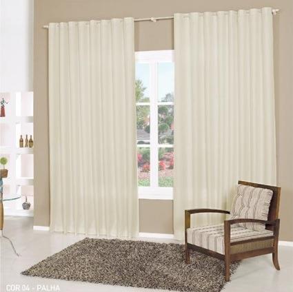 cortina denver palha 3,00x2,50 varão simples tecido rústico