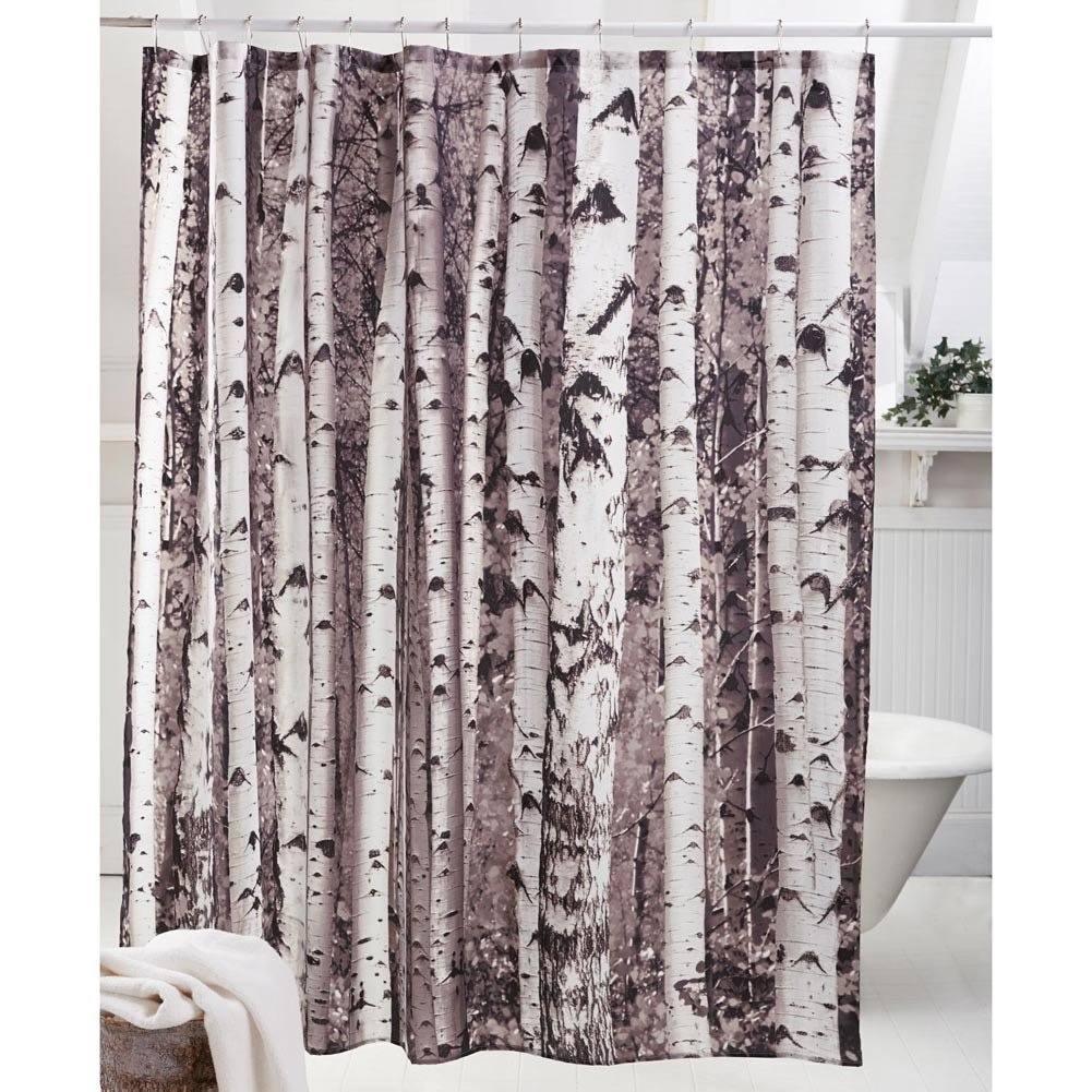 cortina diseño tronco de abedul para baño decorativa arbol