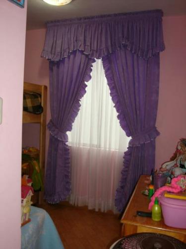 cortina doble pano con cenefa classica rosado claro