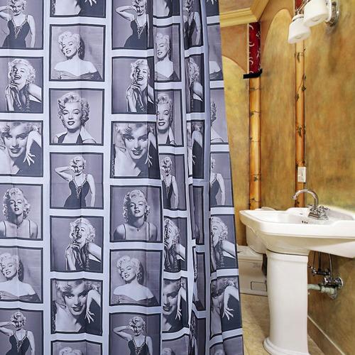 cortina ducha impermeable poliéster patrón elegante monroe