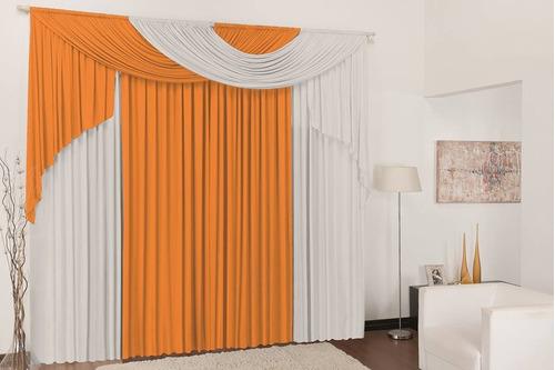 cortina elegance 2,00x1,70 p/ quarto e sala laranja e branco