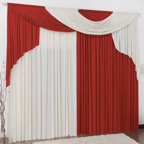 cortina elegance 4,00x2,80 p/ quarto e sala vermelha e palha