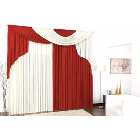 Cortina Elegance Vermelho E Palha Para Sala Ou Quarto 4x2,80