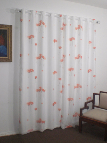 cortina em voil estampado com forro