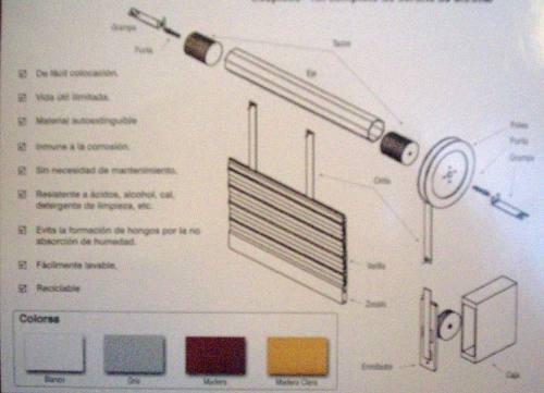 cortina enrrollable de pvc  completa  por m2