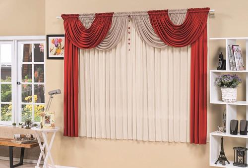 cortina esmeralda p/ quarto e p/ sala vermelha 2m x 1,70m