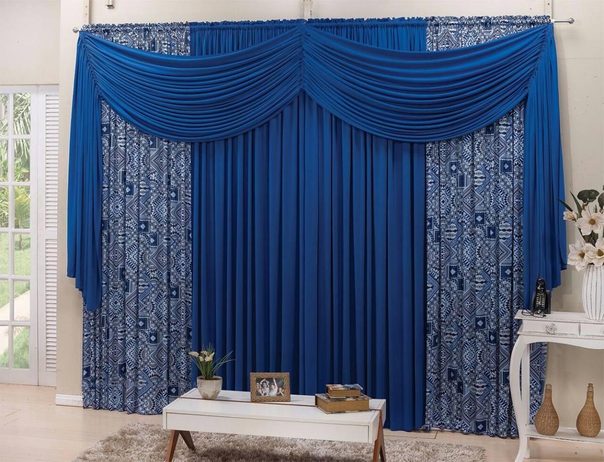 Cortina Estampada Quarto E Sala Azul 3 00mx2 50m Combinato R 189  -> Cortinas Para Sala Azul