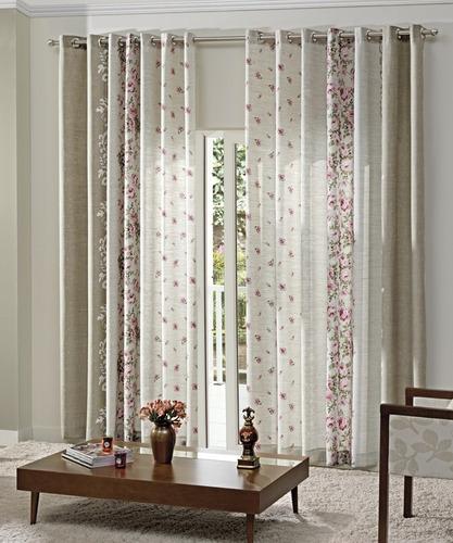 cortina estampada sala 3,00x2,50 brenda-dohler- frete grátis