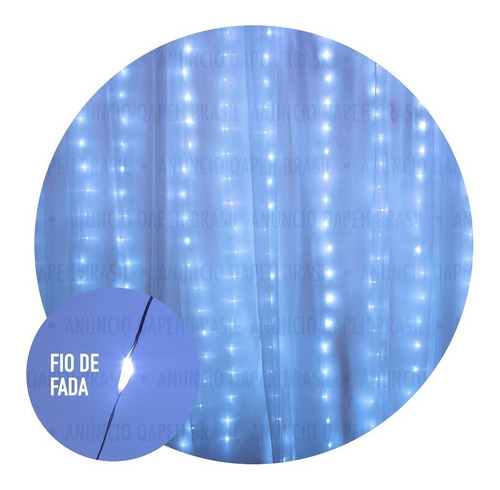 cortina fio de fada 3x2m 300 leds - bivolt resistente à água