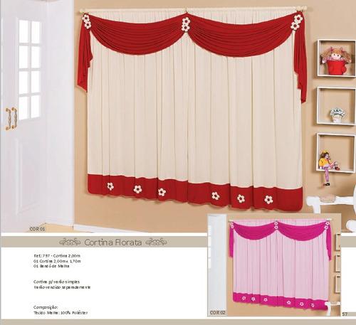 cortina florata 2,00m x 1,70m  malha 100% poliéster