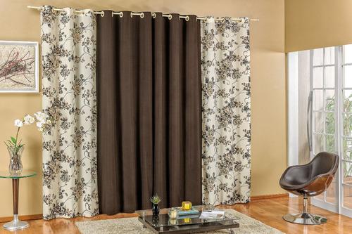 cortina floratta 3,00m x 2,50m com ilhós quarto,sala,cozinha