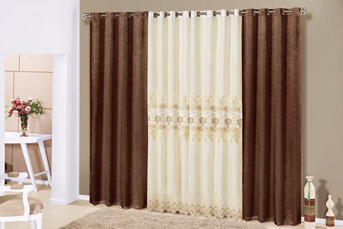 Cortina fl rida 4 00 x2 70 tecido com brilho e voil - Buscar cortinas para salas ...