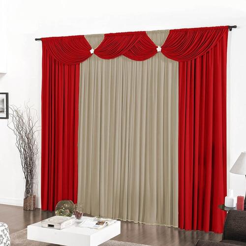 cortina floripa 3,00m x 2,80m tabaco e avelã sala ou quarto