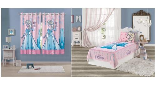 cortina frozen 3,00 x 1,80 e jogo de cama 2 peças lepper