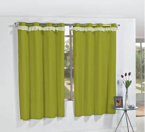 cortina génova 2 metros p/ varão simples cor verde oliva