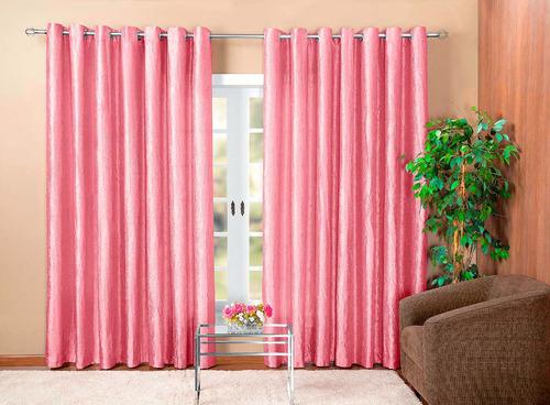 cortina grécia 2 metros tecido cetim amassado cor rose