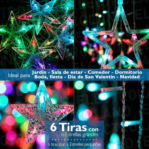 cortina guirnalda 12 estrellas 3 mt led rgb efectos fiestas
