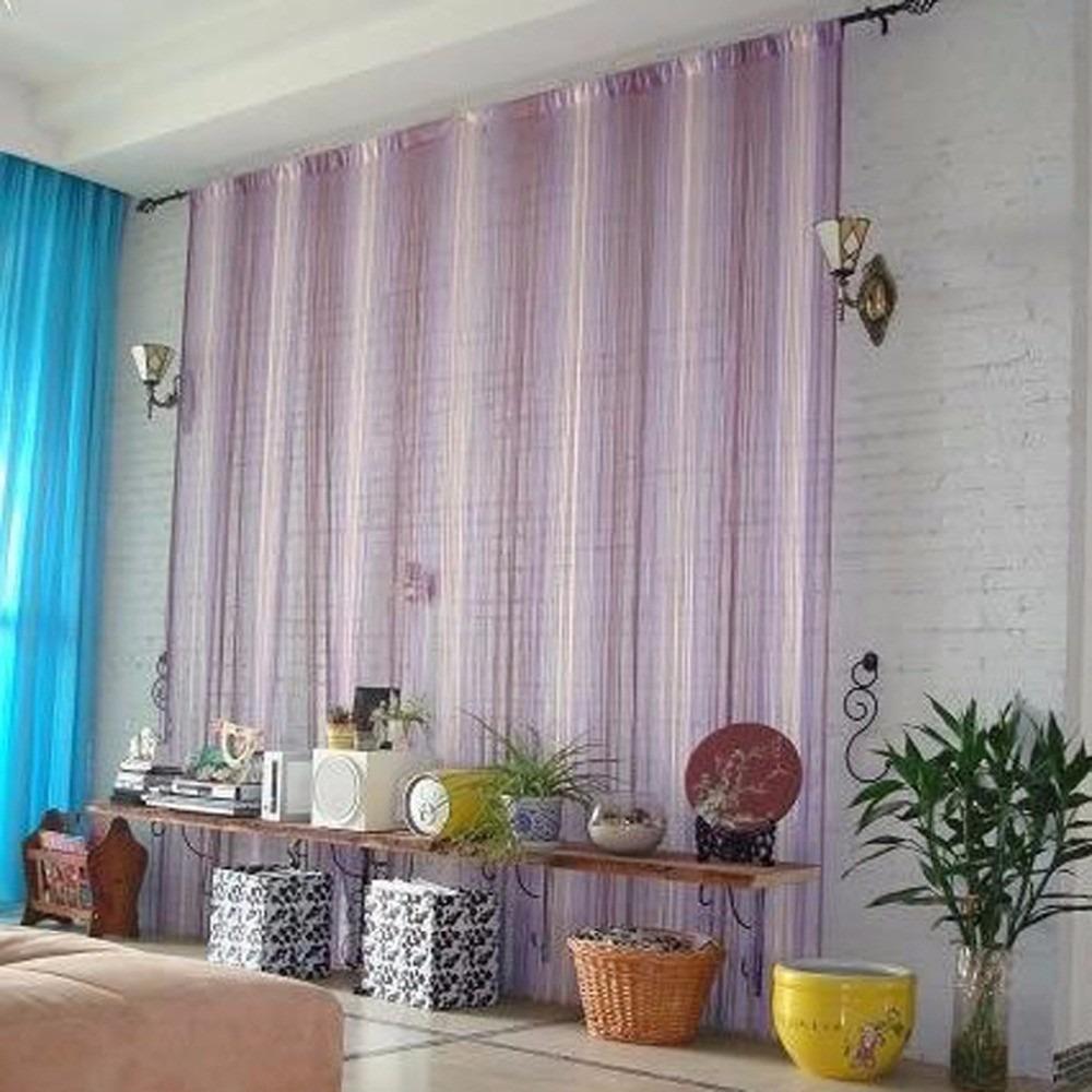 cortina hilos flecos tricolor decoracion dividir ambientes