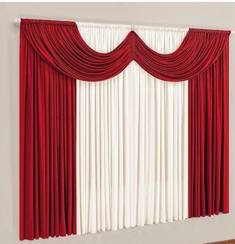 cortina ibiza para varão simples 2 metros vermelho