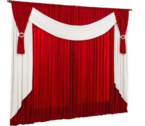 cortina ibiza para varão simples 3 metros vermelho