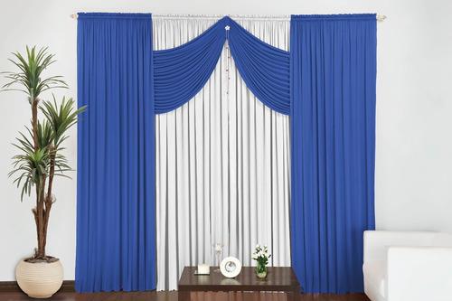 cortina império 3,00m x 2,80m para varão simples vermelha