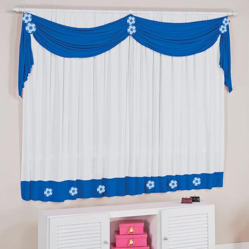 cortina infantil azul e branco futebol p/ quarto de menino