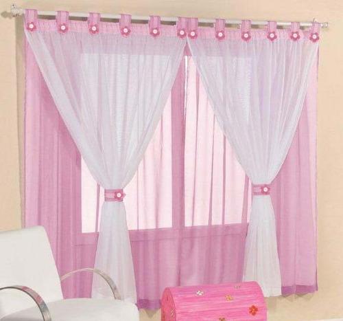 cortina infantil joaninha branca rosa 2mx2,5m varão simples