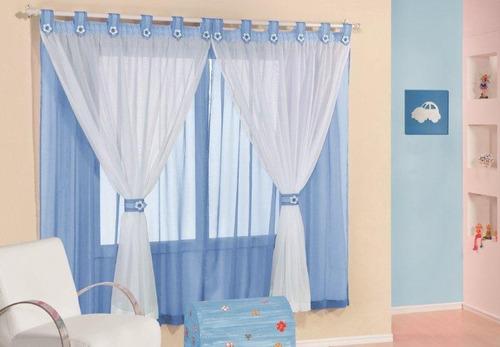 cortina infantil juvenil azul carrinho 2mx1,7m varão simples