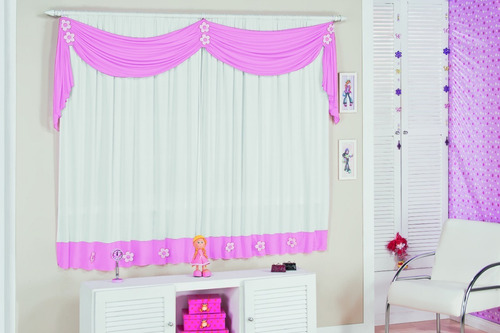 cortina infantil margarida 2,00x1,70  para quarto menina