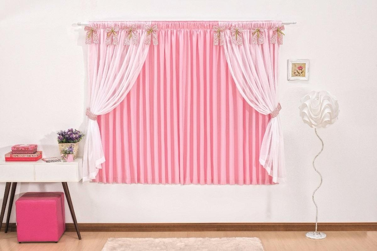 Cortina Infantil Menina Pink Com Branco Cortina Pink Forrada  R$ 149,00 em M