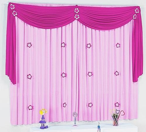 cortina infantil quarto menina bebê lilás roxo ou rosa pink