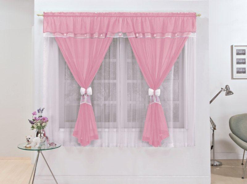 Cortina infantil vit ria rosa 2mx1 7m var o simples r 89 00 em mercado livre - Modelos de cortinas infantiles ...