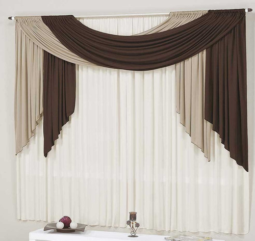 cortina isabeli tabaco avelã branco 3mx2,8m varão duplo