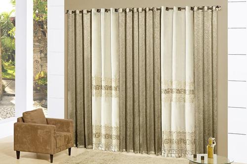 cortina itália 4,00m x 2,70m bordada para sala varão simples