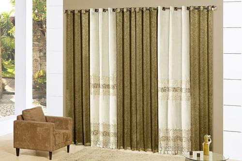 cortina itália 4,00x2,70 bordada p/ varão simples - prata
