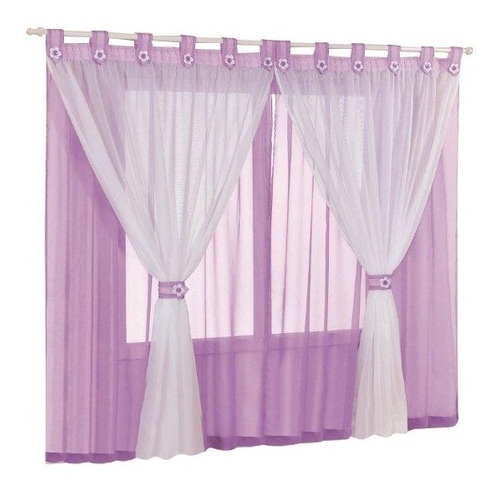 cortina juvenil lilás/branco voal para meninas 2,00m x 1,70m