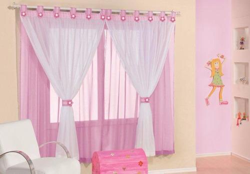cortina juvenil p/ quarto de meninas rosa 2,00m x 1,70