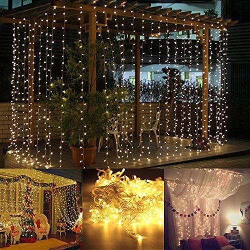 cortina led 144 luces 12 tiras 2x1.50 mts con enchufe 220v