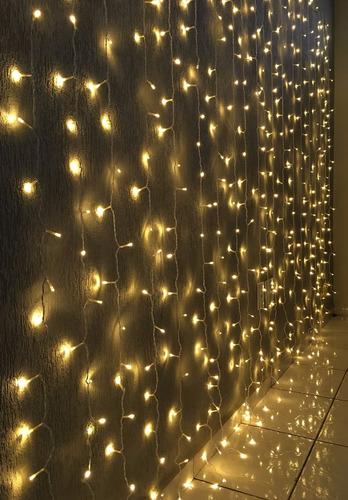 cortina led 500 leds 127v branco quente 2,80m x 2,50m m/f