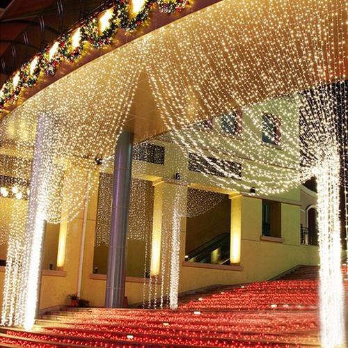 cortina led 500 leds branco quente 2,80m x 2,50m 110v