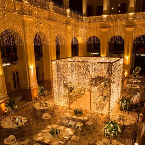 cortina led 900 leds amarela 4m x 3m decoração festa 110 v