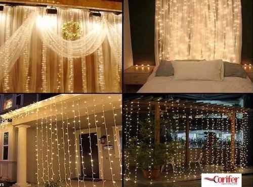 cortina led 900 leds fixos festa casamento branco quente 4x3