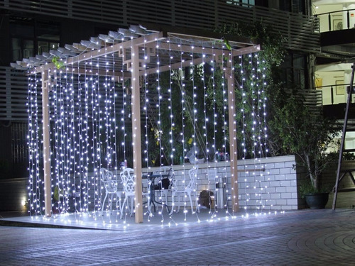 cortina led blanco frio 3x3 bodas decoracion fiesta intercon