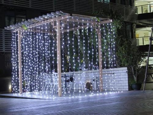 cortina led blanco frio 3x3 bodas decoracion interconectable