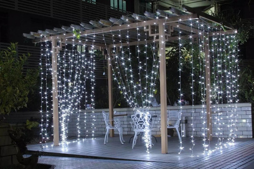 cortina led blanco frio 3x3 bodas decoracion interconectable